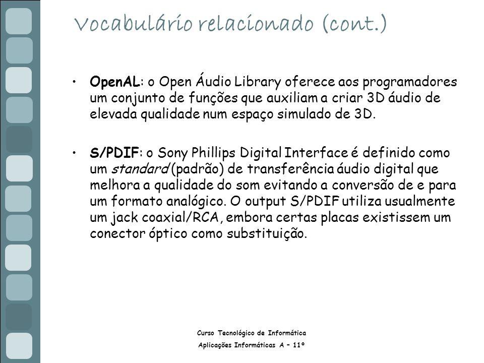 Curso Tecnológico de Informática Aplicações Informáticas A – 11º Vocabulário relacionado (cont.) OpenAL: o Open Áudio Library oferece aos programadores um conjunto de funções que auxiliam a criar 3D áudio de elevada qualidade num espaço simulado de 3D.