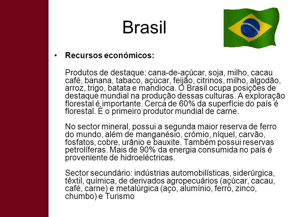 Brasil Recursos económicos: Produtos de destaque: cana-de-açúcar, soja, milho, cacau café, banana, tabaco, açúcar, feijão, citrinos, milho, algodão, arroz, trigo, batata e mandioca.