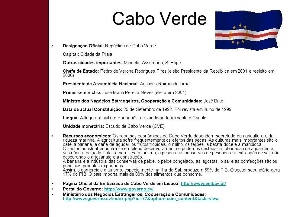 Cabo Verde Designação Oficial: República de Cabo Verde Capital: Cidade da Praia Outras cidades importantes: Mindelo, Assomada, S.