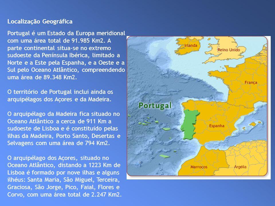 Localização Geográfica Portugal é um Estado da Europa meridional com uma área total de 91.985 Km2. A parte continental situa-se no extremo sudoeste da