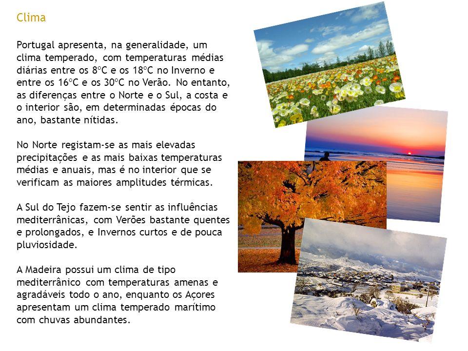 Clima Portugal apresenta, na generalidade, um clima temperado, com temperaturas médias diárias entre os 8ºC e os 18ºC no Inverno e entre os 16ºC e os