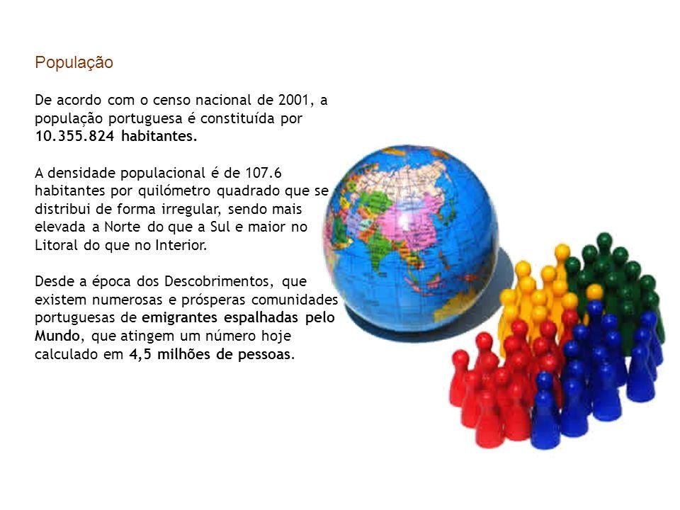 População De acordo com o censo nacional de 2001, a população portuguesa é constituída por 10.355.824 habitantes. A densidade populacional é de 107.6