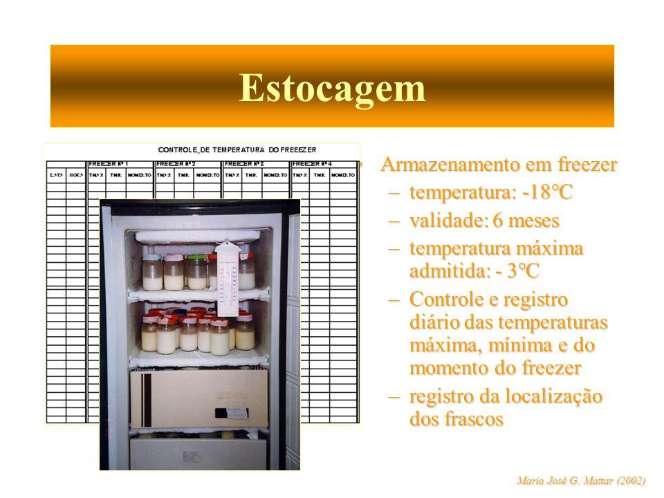 Estocagem Armazenamento em freezerArmazenamento em freezer –temperatura: -18°C –validade: 6 meses –temperatura máxima admitida: - 3°C –Controle e regi