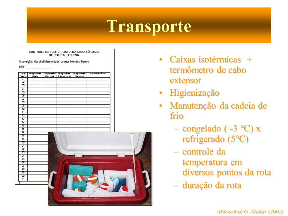 Distribuição Se possível dispensação unitária para o receptor, mantendo cadeia de frio (orientações específicas).