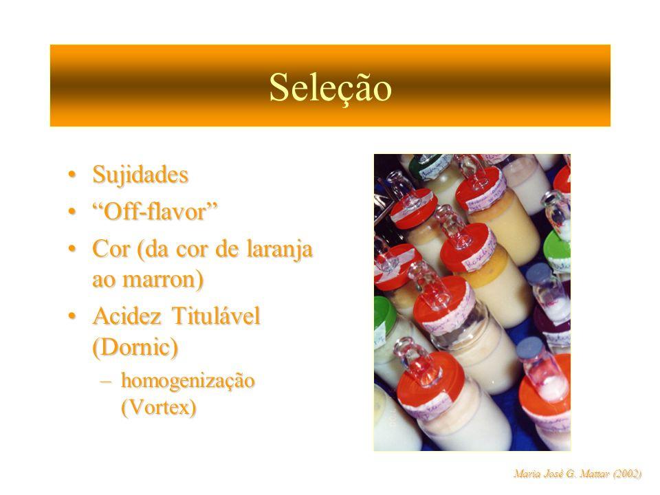 Seleção SujidadesSujidades Off-flavorOff-flavor Cor (da cor de laranja ao marron)Cor (da cor de laranja ao marron) Acidez Titulável (Dornic)Acidez Tit