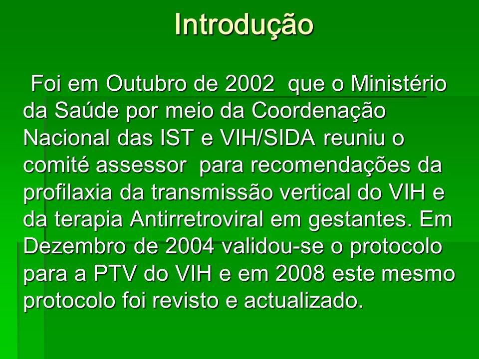 Introdução Foi em Outubro de 2002 que o Ministério da Saúde por meio da Coordenação Nacional das IST e VIH/SIDA reuniu o comité assessor para recomendações da profilaxia da transmissão vertical do VIH e da terapia Antirretroviral em gestantes.