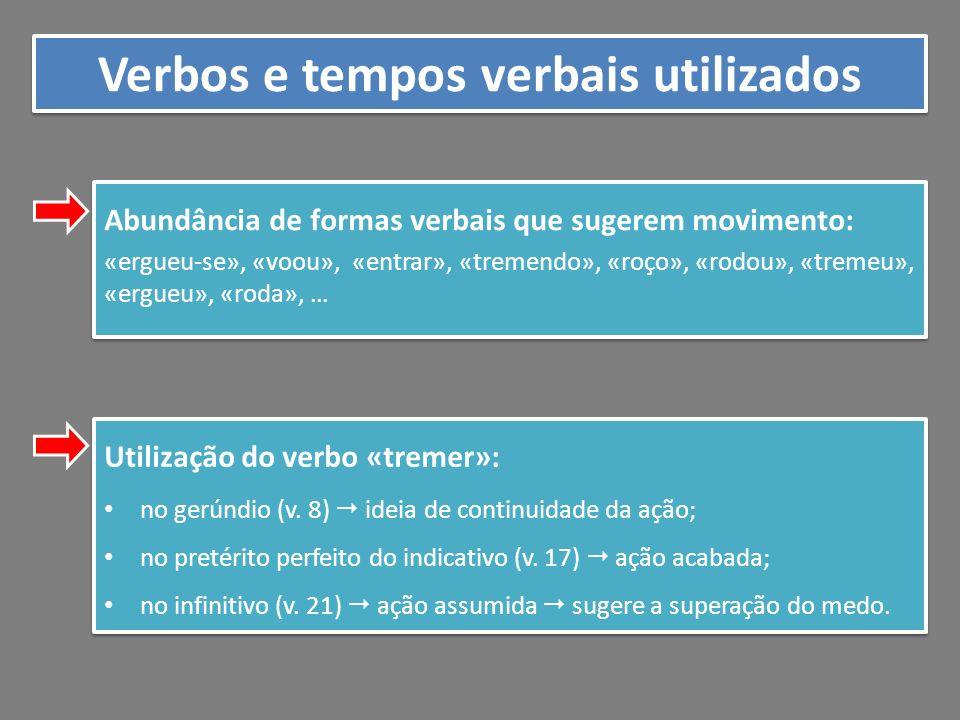 Verbos e tempos verbais utilizados Abundância de formas verbais que sugerem movimento: «ergueu-se», «voou», «entrar», «tremendo», «roço», «rodou», «tr