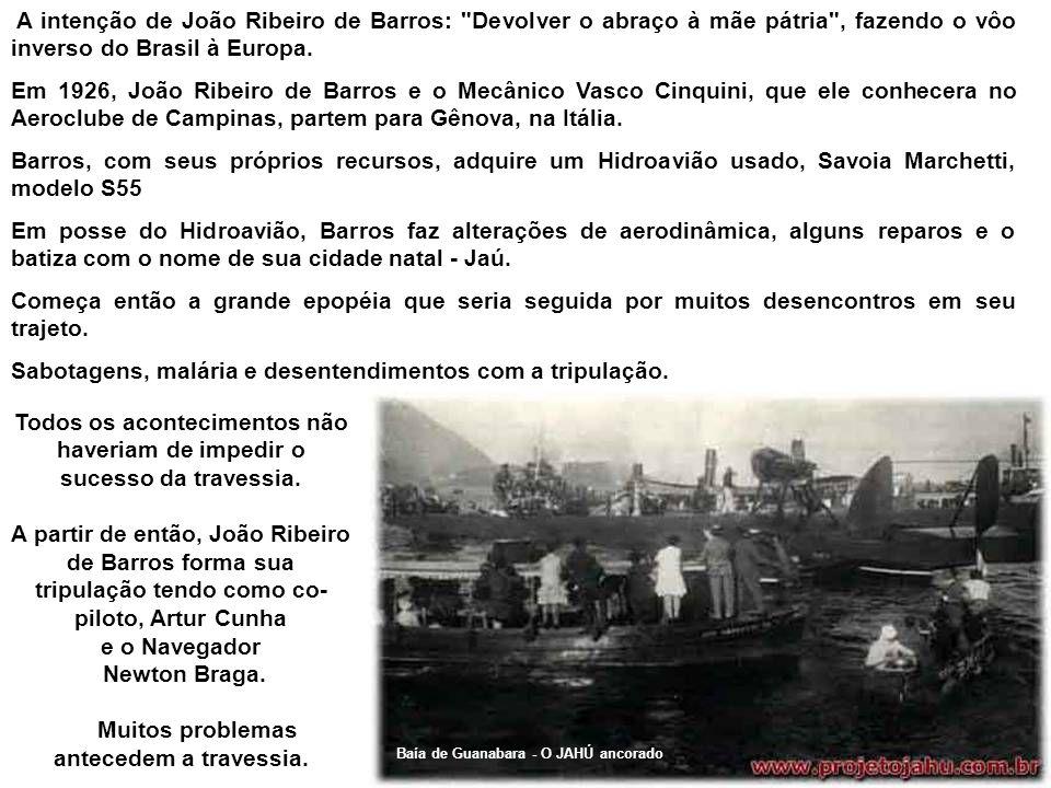 O Jahú representado em um selo. O Jahú Com os próprios recursos e sem nenhuma ajuda governamental, João Ribeiro de Barros adquiriu na Itália uma aeron