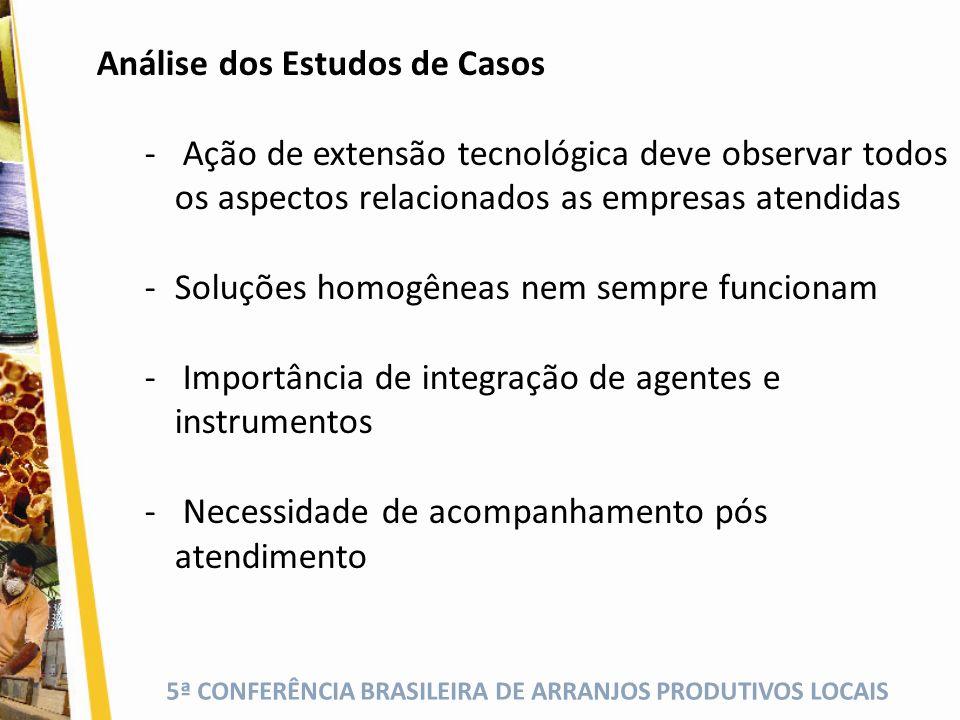 5ª CONFERÊNCIA BRASILEIRA DE ARRANJOS PRODUTIVOS LOCAIS Análise dos Estudos de Casos - Ação de extensão tecnológica deve observar todos os aspectos re