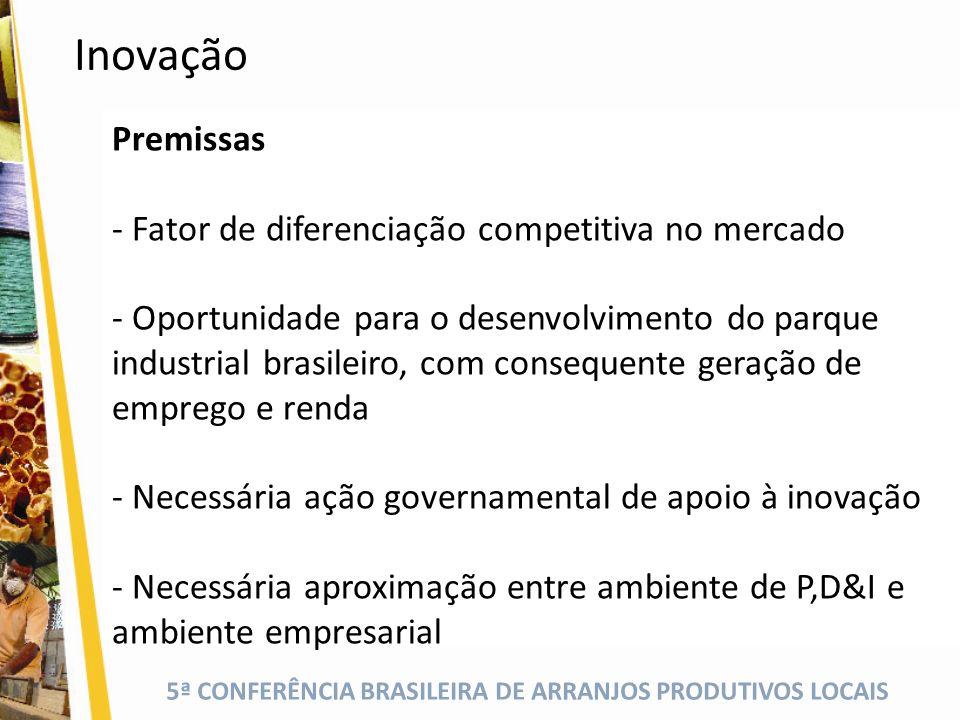 5ª CONFERÊNCIA BRASILEIRA DE ARRANJOS PRODUTIVOS LOCAIS Premissas - Fator de diferenciação competitiva no mercado - Oportunidade para o desenvolviment