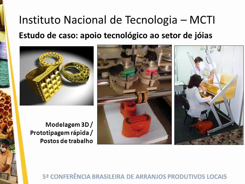 5ª CONFERÊNCIA BRASILEIRA DE ARRANJOS PRODUTIVOS LOCAIS Estudo de caso: apoio tecnológico ao setor de jóias Modelagem 3D / Prototipagem rápida / Posto