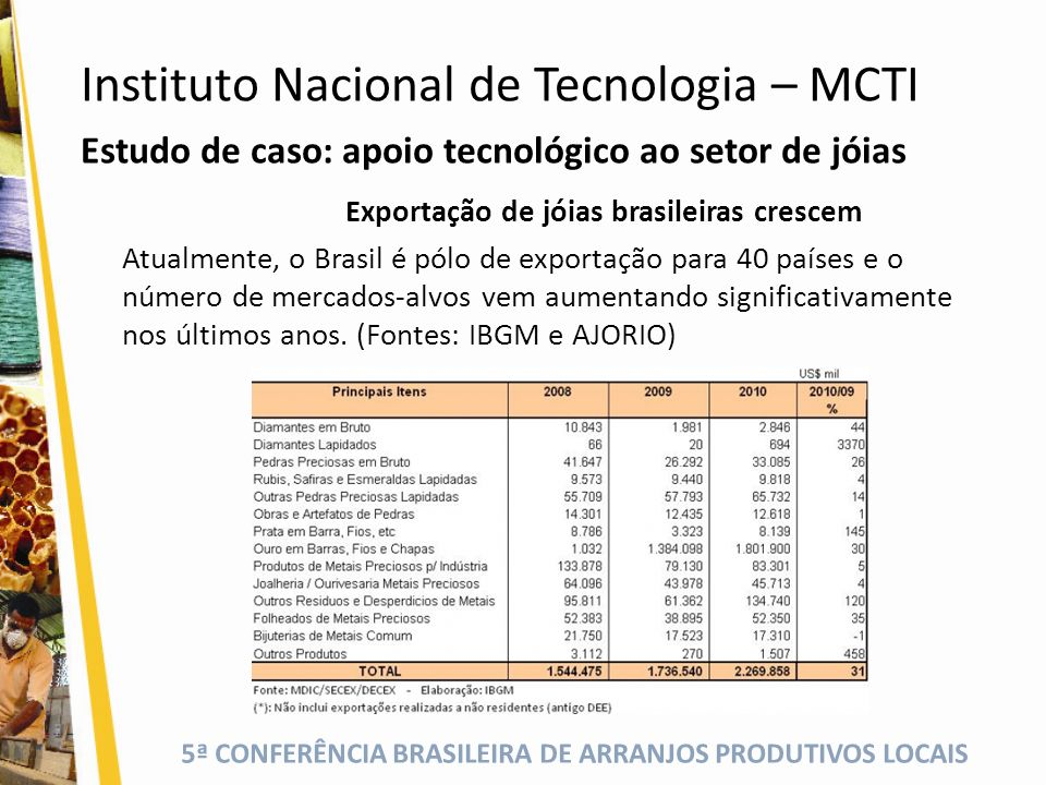5ª CONFERÊNCIA BRASILEIRA DE ARRANJOS PRODUTIVOS LOCAIS Estudo de caso: apoio tecnológico ao setor de jóias Exportação de jóias brasileiras crescem At
