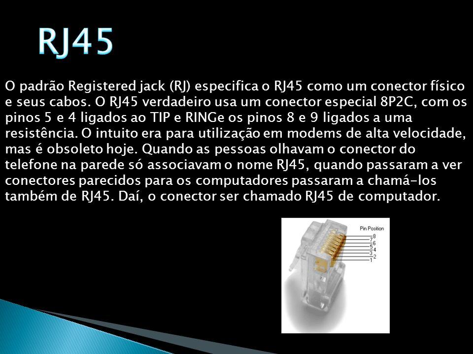 O padrão Registered jack (RJ) especifica o RJ45 como um conector físico e seus cabos. O RJ45 verdadeiro usa um conector especial 8P2C, com os pinos 5