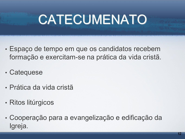CATECUMENATO Espaço de tempo em que os candidatos recebem formação e exercitam-se na prática da vida cristã. Catequese Prática da vida cristã Ritos li
