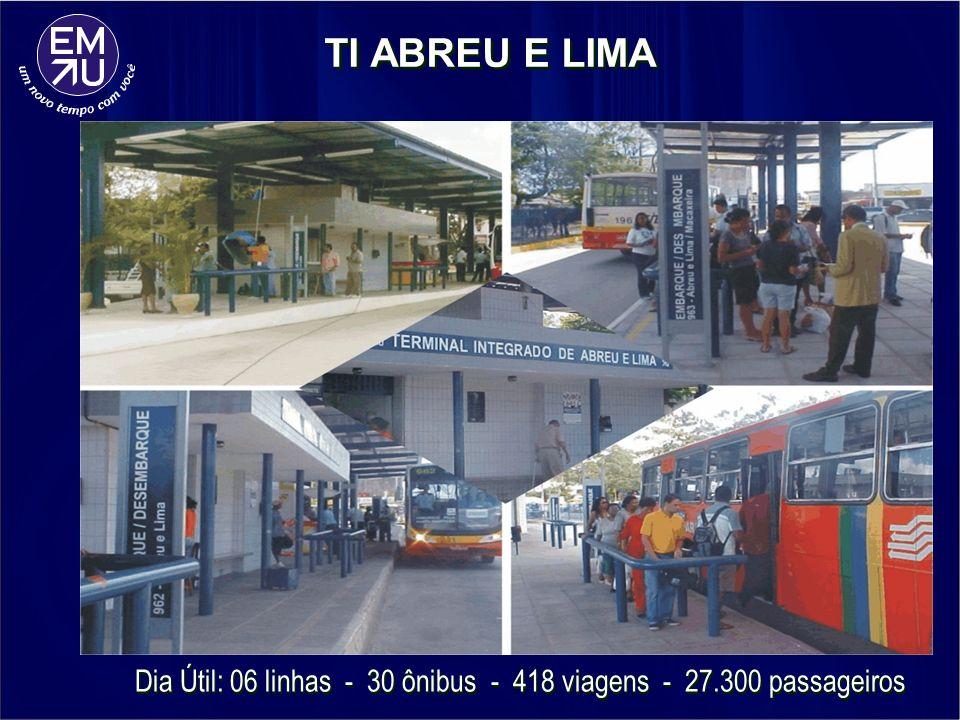 TI ABREU E LIMA Dia Útil: 06 linhas - 30 ônibus - 418 viagens - 27.300 passageiros