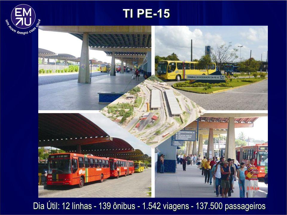 TI PE-15 Dia Útil: 12 linhas - 139 ônibus - 1.542 viagens - 137.500 passageiros