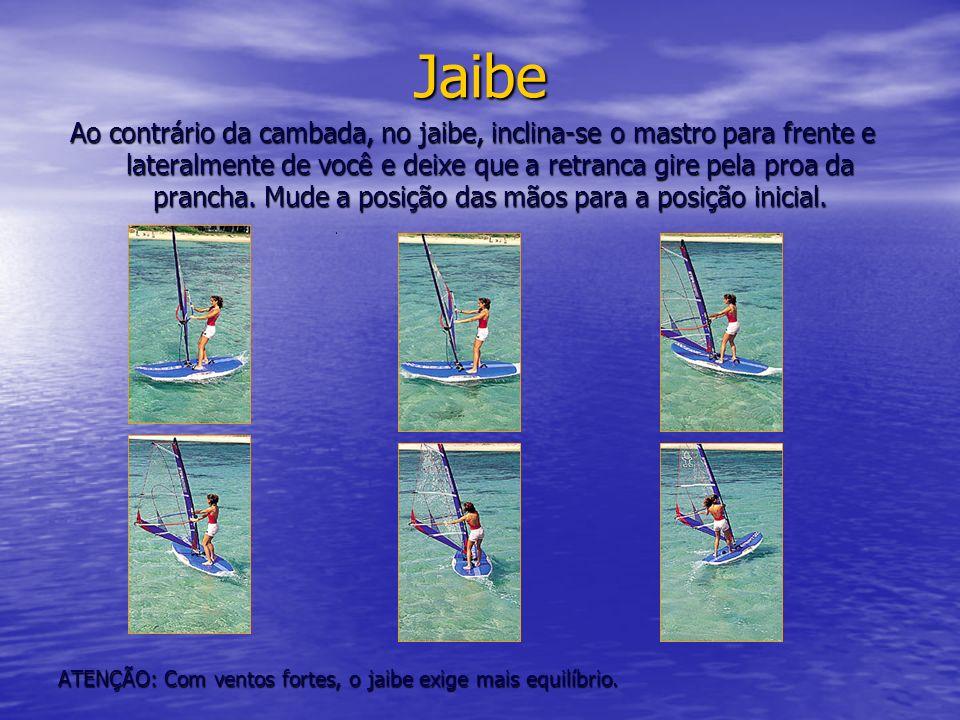 Jaibe Ao contrário da cambada, no jaibe, inclina-se o mastro para frente e lateralmente de você e deixe que a retranca gire pela proa da prancha. Mude