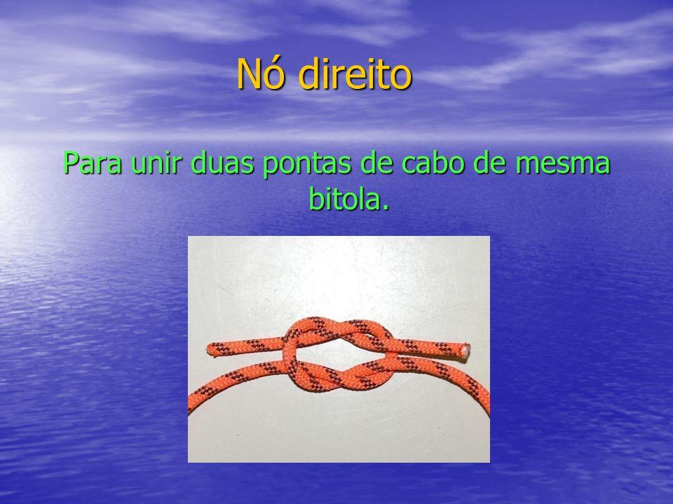 Nó direito Para unir duas pontas de cabo de mesma bitola.