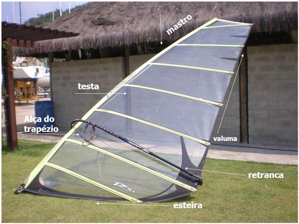 Cambar 1 – Inclinando o mastro para popa da prancha 2 - A proa aponta na direção do vento.