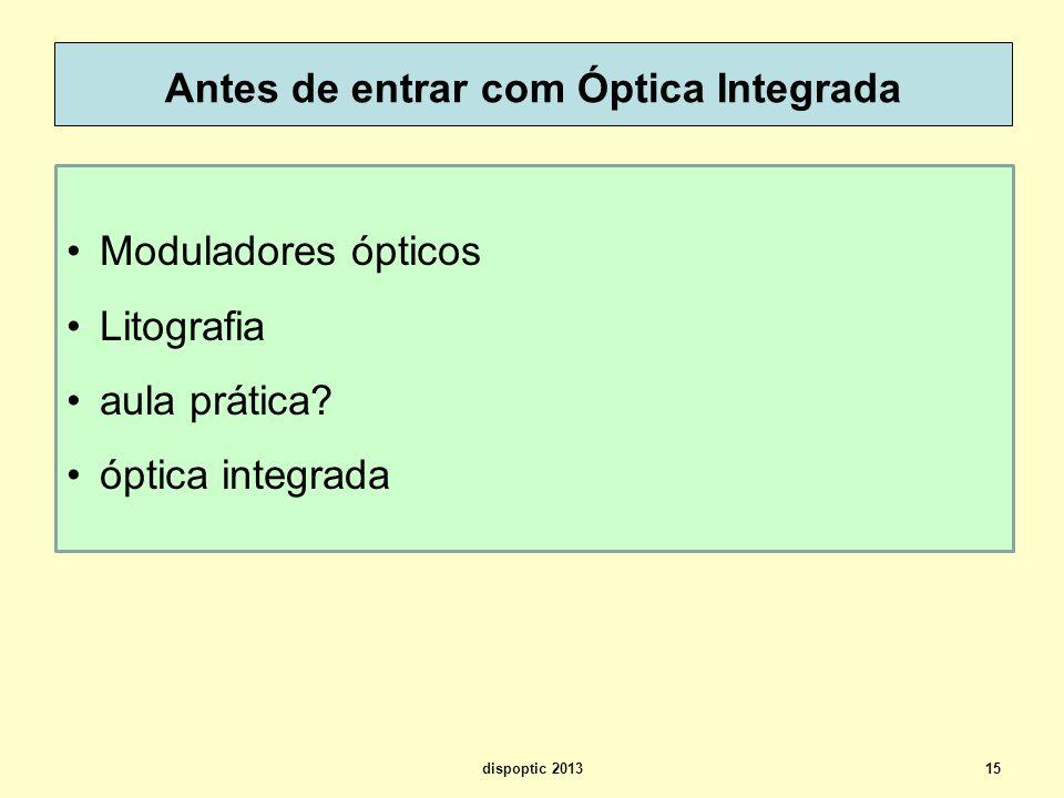 Antes de entrar com Óptica Integrada dispoptic 201315 Moduladores ópticos Litografia aula prática? óptica integrada