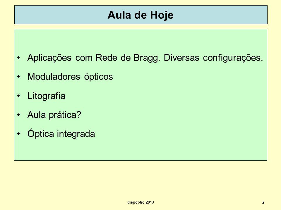 Um compacto sobre redes de Bragg IPHT – Jena (Institute of Photonic Technology) FiberBragg_Ecke_tutorial.pdf 13dispoptic 2013