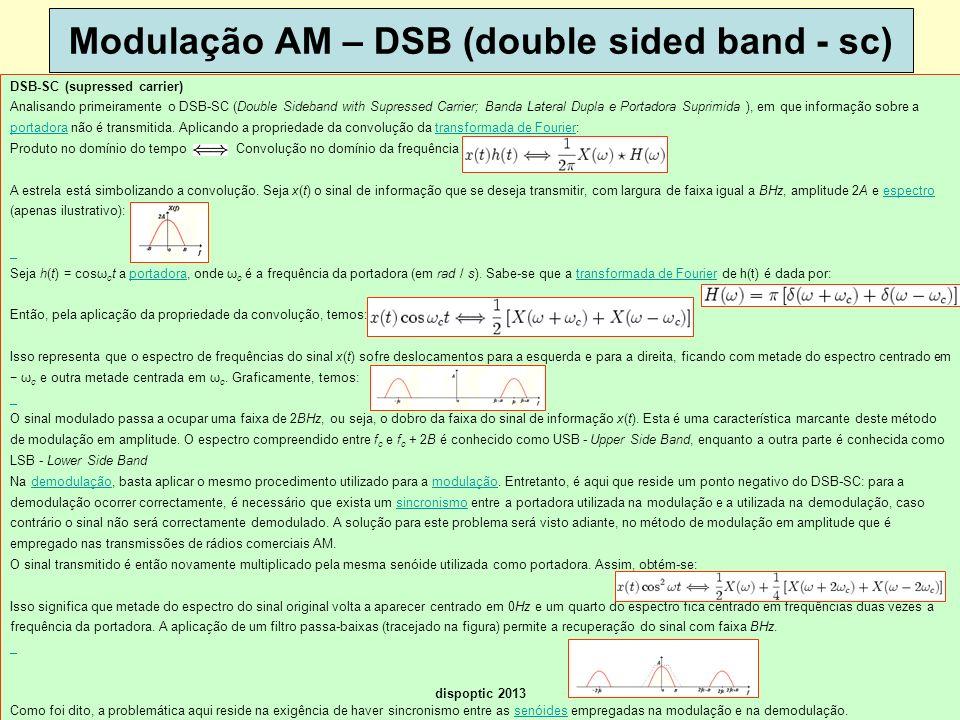 23 Modulação AM – DSB (double sided band - sc) DSB-SC (supressed carrier) Analisando primeiramente o DSB-SC (Double Sideband with Supressed Carrier; B