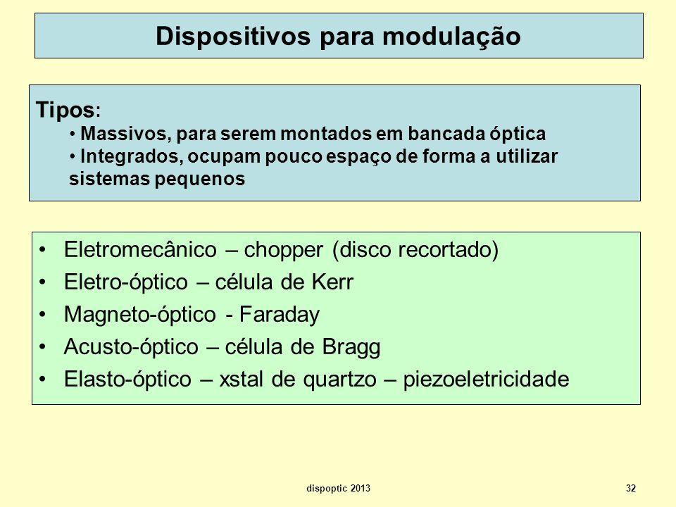 32 Dispositivos para modulação Eletromecânico – chopper (disco recortado) Eletro-óptico – célula de Kerr Magneto-óptico - Faraday Acusto-óptico – célu