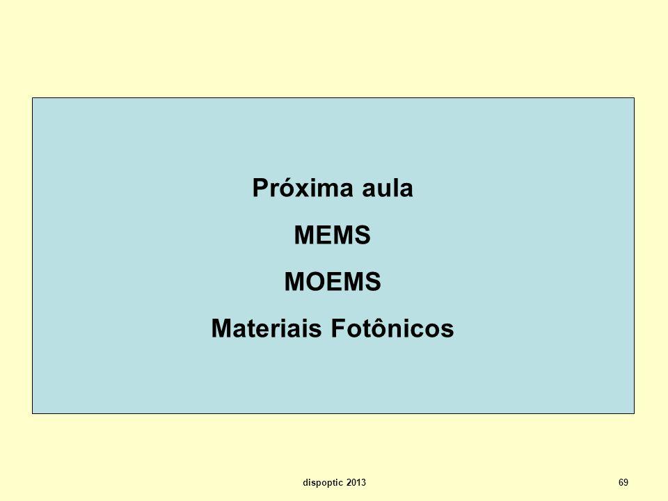 69 Próxima aula MEMS MOEMS Materiais Fotônicos dispoptic 2013