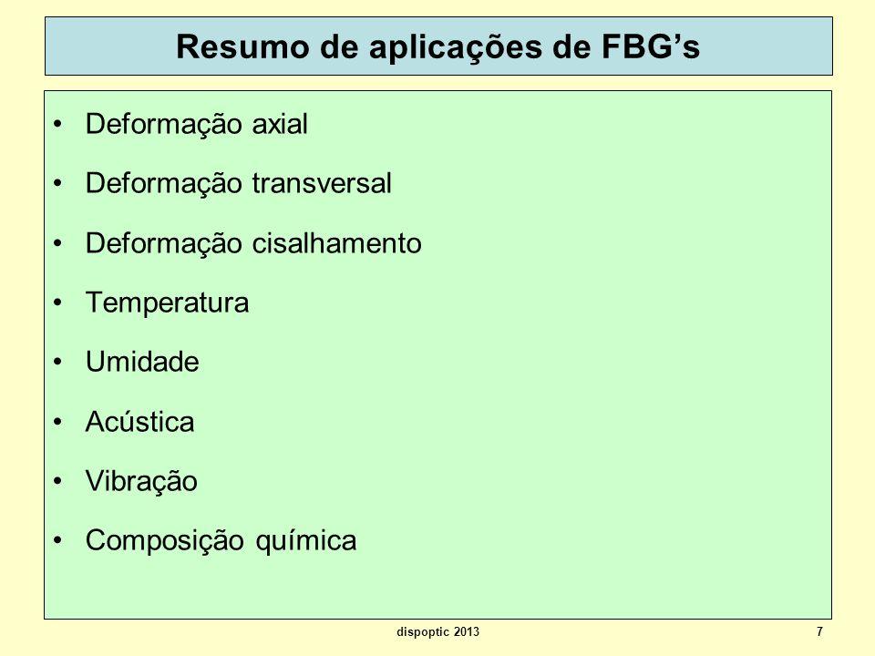 7 Resumo de aplicações de FBGs Deformação axial Deformação transversal Deformação cisalhamento Temperatura Umidade Acústica Vibração Composição químic