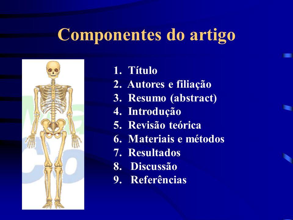 Componentes do artigo 1.Título 2. Autores e filiação 3.Resumo (abstract) 4.Introdução 5.Revisão teórica 6.Materiais e métodos 7.Resultados 8. Discussã