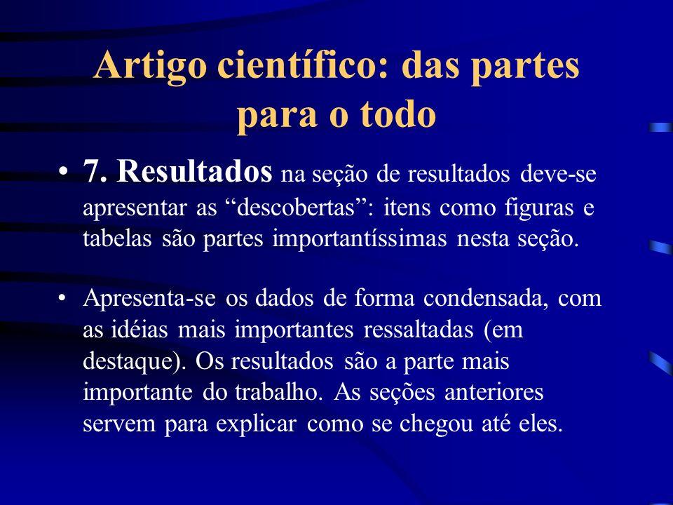 Artigo científico: das partes para o todo 7. Resultados na seção de resultados deve-se apresentar as descobertas: itens como figuras e tabelas são par