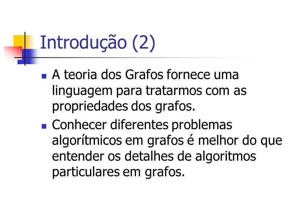 Introdução (2) A teoria dos Grafos fornece uma linguagem para tratarmos com as propriedades dos grafos. Conhecer diferentes problemas algorítmicos em