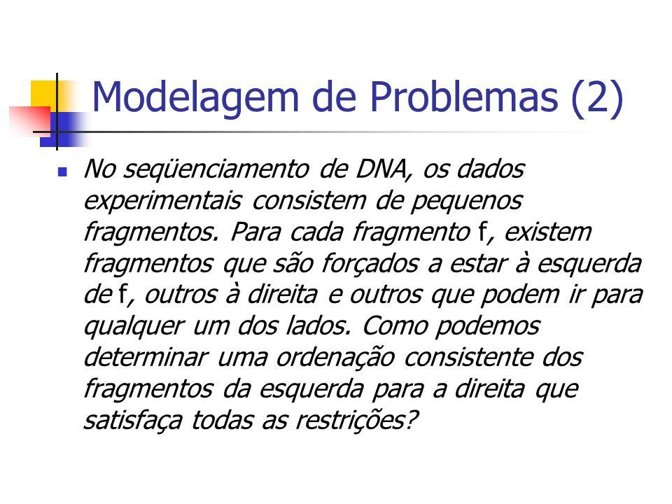 Modelagem de Problemas (2) No seqüenciamento de DNA, os dados experimentais consistem de pequenos fragmentos. Para cada fragmento f, existem fragmento