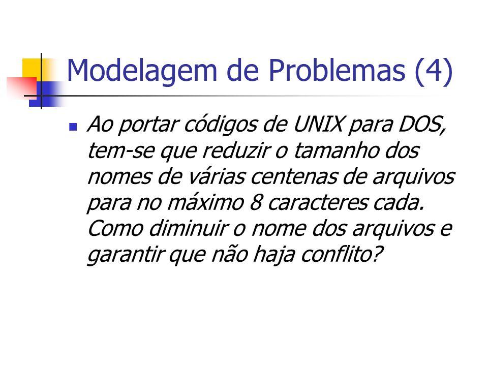 Modelagem de Problemas (4) Ao portar códigos de UNIX para DOS, tem-se que reduzir o tamanho dos nomes de várias centenas de arquivos para no máximo 8