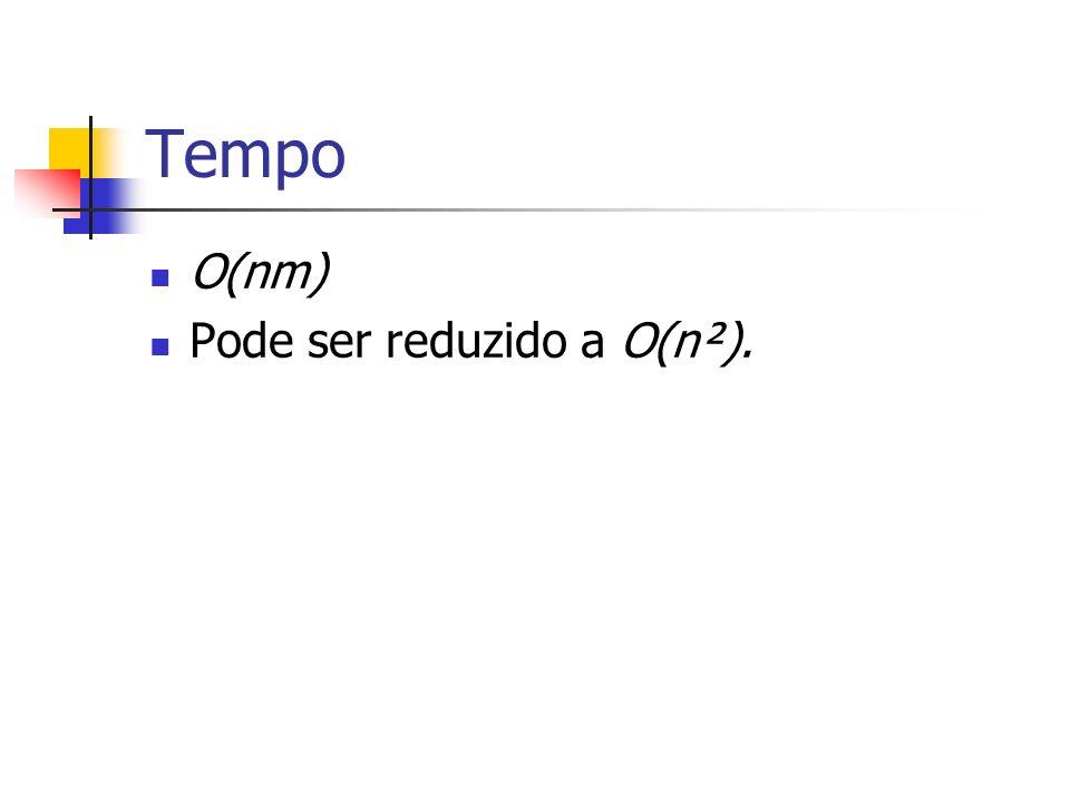 Tempo O(nm) Pode ser reduzido a O(n²).