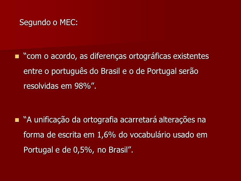 Segundo o MEC: Segundo o MEC: com o acordo, as diferenças ortográficas existentes entre o português do Brasil e o de Portugal serão resolvidas em 98%.