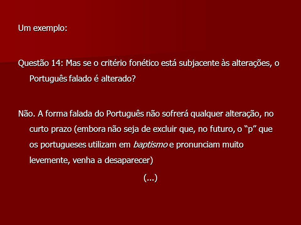 Um exemplo: Questão 14: Mas se o critério fonético está subjacente às alterações, o Português falado é alterado? Não. A forma falada do Português não