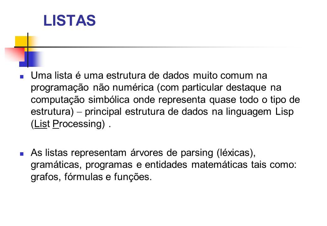 LISTAS Uma lista é uma estrutura de dados muito comum na programação não numérica (com particular destaque na computação simbólica onde representa quase todo o tipo de estrutura) principal estrutura de dados na linguagem Lisp (List Processing).