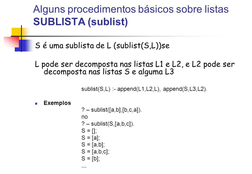 Alguns procedimentos básicos sobre listas SUBLISTA (sublist) S é uma sublista de L (sublist(S,L))se L pode ser decomposta nas listas L1 e L2, e L2 pod