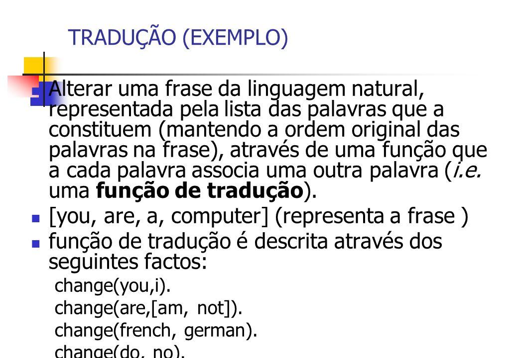 TRADUÇÃO (EXEMPLO) Alterar uma frase da linguagem natural, representada pela lista das palavras que a constituem (mantendo a ordem original das palavras na frase), através de uma função que a cada palavra associa uma outra palavra (i.e.