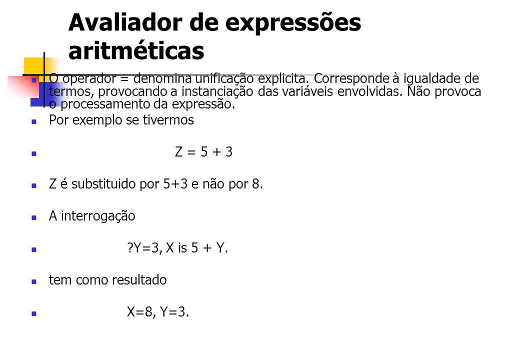 Avaliador de expressões aritméticas O operador = denomina unificação explicita. Corresponde à igualdade de termos, provocando a instanciação das variá