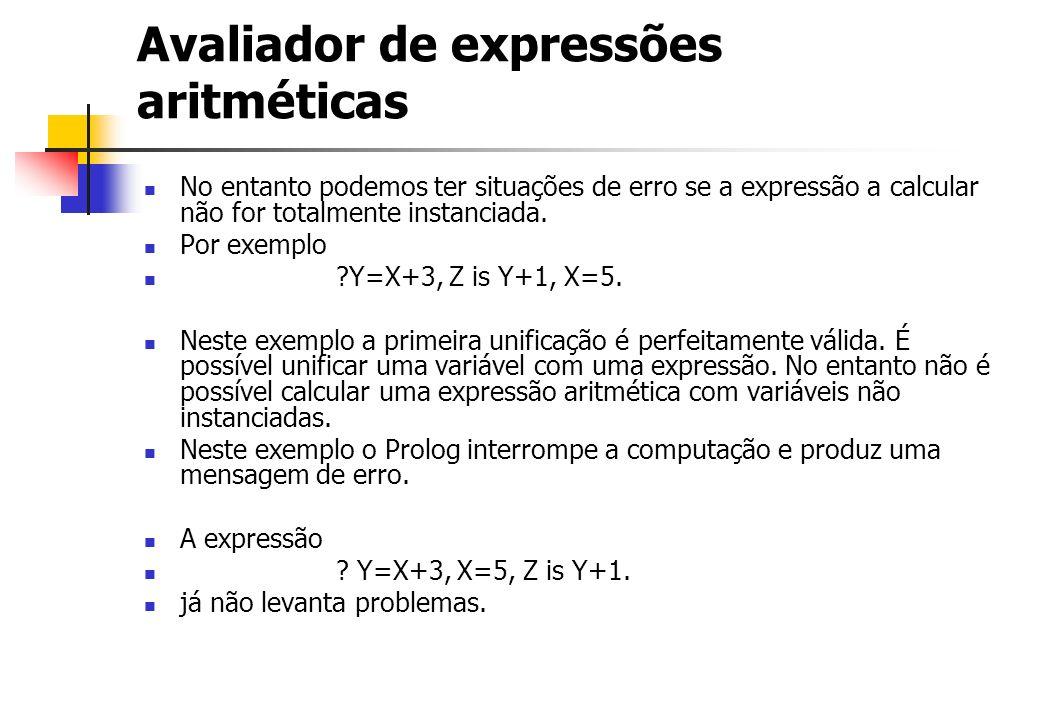 Avaliador de expressões aritméticas No entanto podemos ter situações de erro se a expressão a calcular não for totalmente instanciada. Por exemplo ?Y=