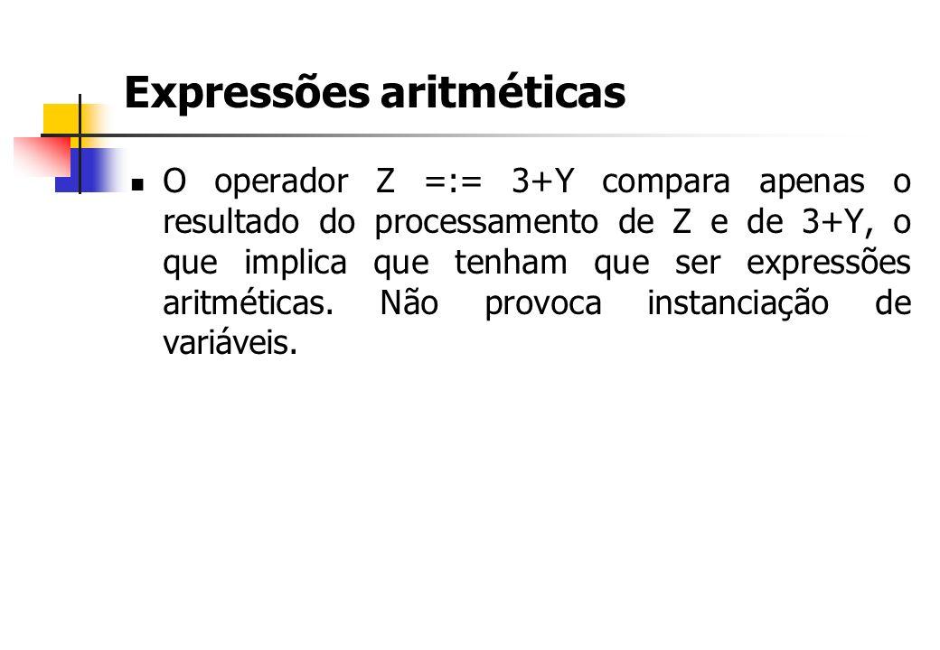 Expressões aritméticas O operador Z =:= 3+Y compara apenas o resultado do processamento de Z e de 3+Y, o que implica que tenham que ser expressões aritméticas.