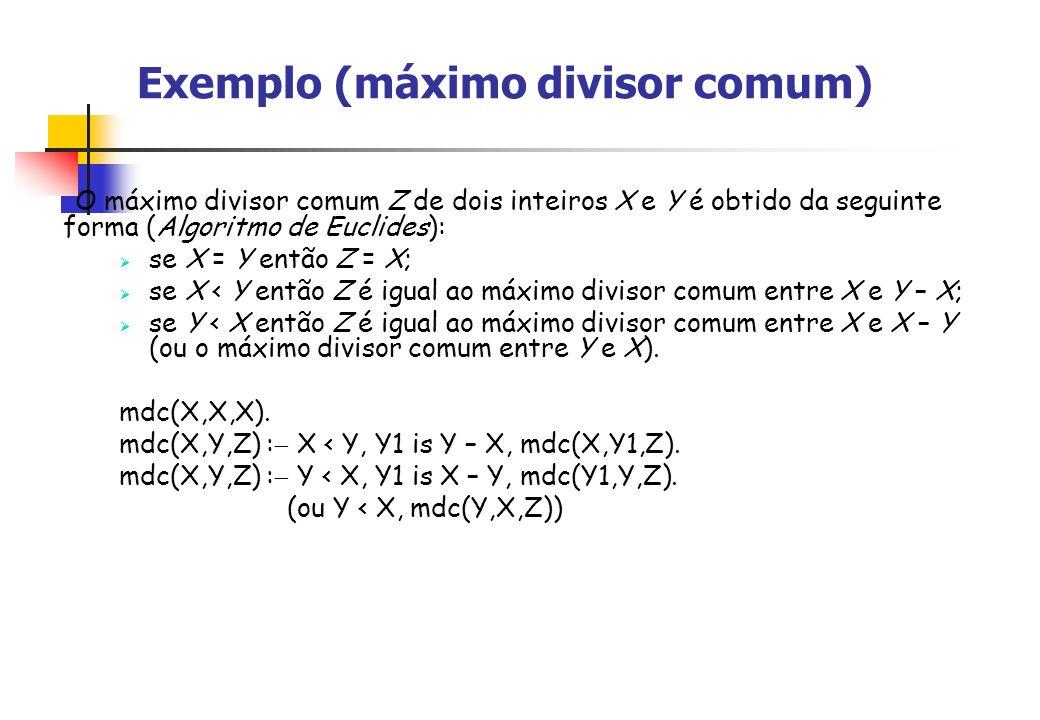 Exemplo (máximo divisor comum) O máximo divisor comum Z de dois inteiros X e Y é obtido da seguinte forma (Algoritmo de Euclides): se X = Y então Z = X; se X < Y então Z é igual ao máximo divisor comum entre X e Y – X; se Y < X então Z é igual ao máximo divisor comum entre X e X – Y (ou o máximo divisor comum entre Y e X).