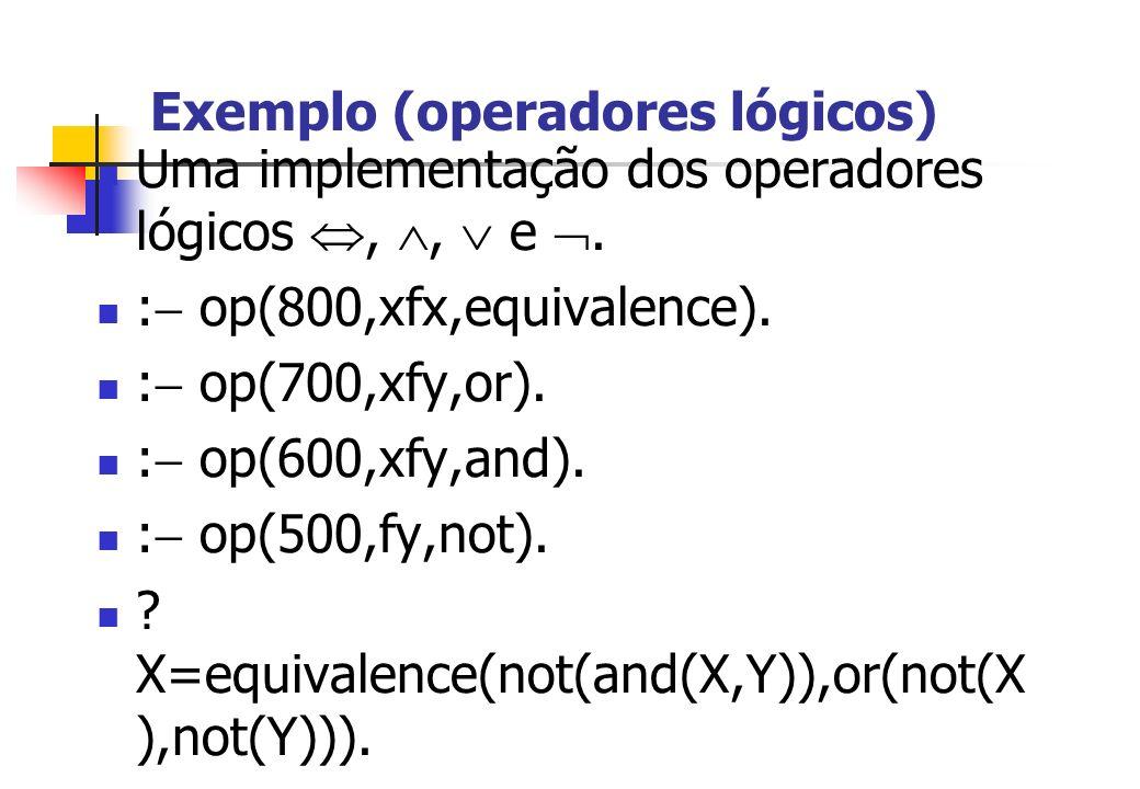 Exemplo (operadores lógicos) Uma implementação dos operadores lógicos,, e. : op(800,xfx,equivalence). : op(700,xfy,or). : op(600,xfy,and). : op(500,fy