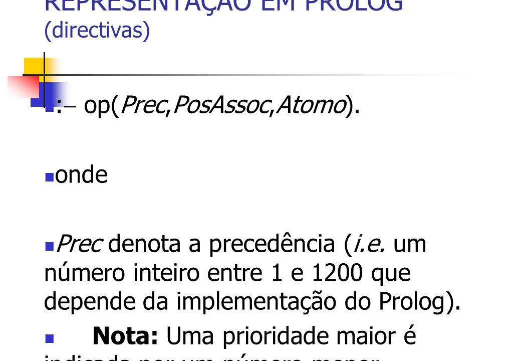 REPRESENTAÇÃO EM PROLOG (directivas) : op(Prec,PosAssoc,Atomo). onde Prec denota a precedência (i.e. um número inteiro entre 1 e 1200 que depende da i
