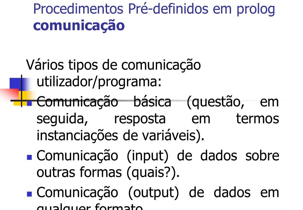 Procedimentos Pré-definidos em prolog comunicação Vários tipos de comunicação utilizador/programa: Comunicação básica (questão, em seguida, resposta em termos instanciações de variáveis).