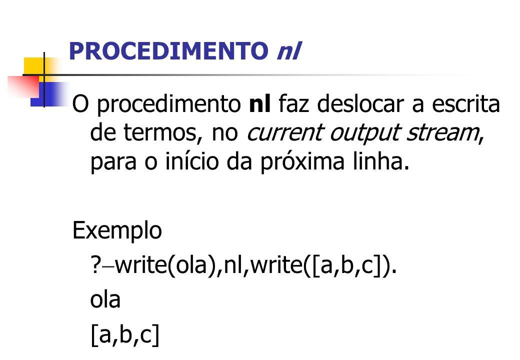 PROCEDIMENTO nl O procedimento nl faz deslocar a escrita de termos, no current output stream, para o início da próxima linha. Exemplo ? write(ola),nl,