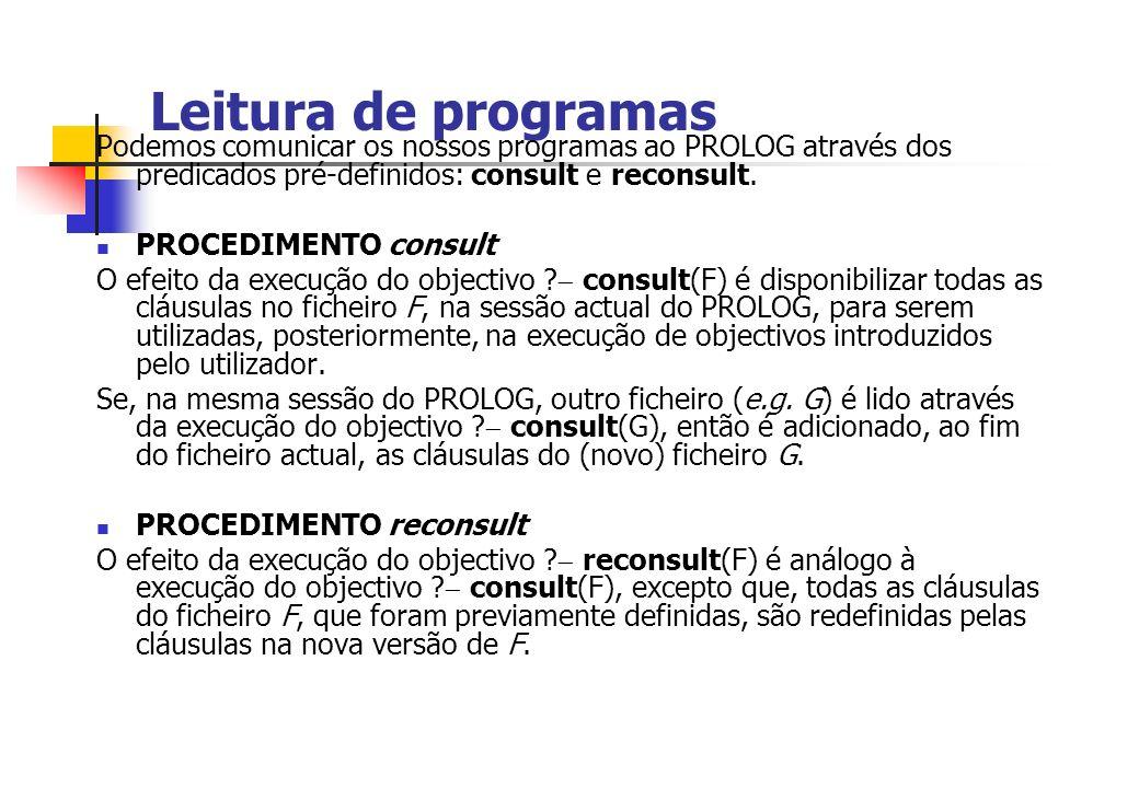 Leitura de programas Podemos comunicar os nossos programas ao PROLOG através dos predicados pré-definidos: consult e reconsult. PROCEDIMENTO consult O