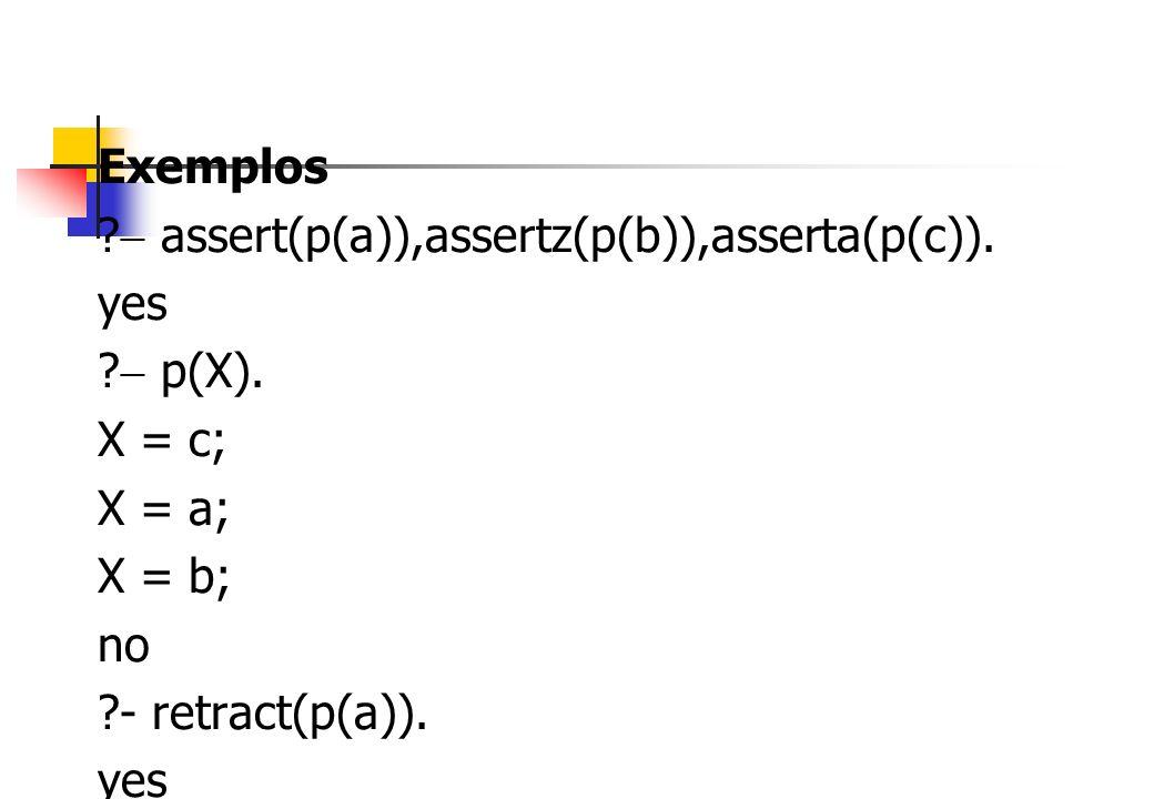 Exemplos ? assert(p(a)),assertz(p(b)),asserta(p(c)). yes ? p(X). X = c; X = a; X = b; no ?- retract(p(a)). yes ? p(X). X = c; X = b; no